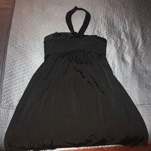 Black halter studded dress